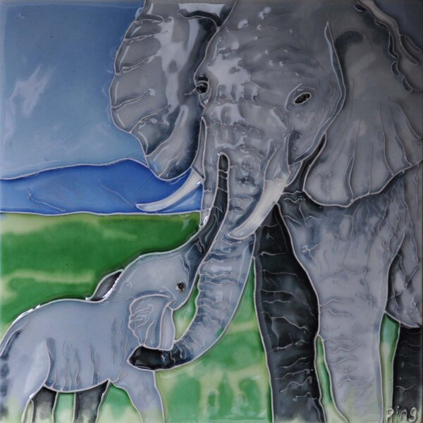 Elephant Mother and Baby Tile Wall Decor by Continental Art Center