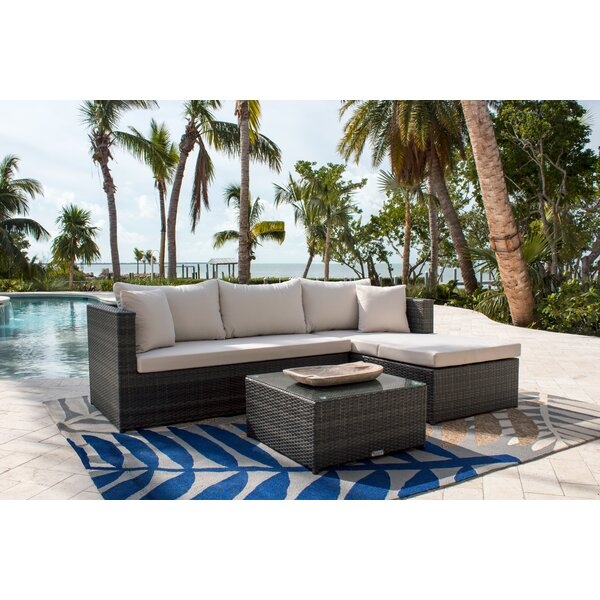 Saliba 3 Piece Rattan Sunbrella Sectional Seating Group with Cushions by Latitude Run