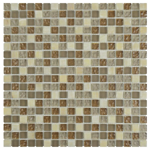 Sierra 0.58 x 0.58 Glass and Natural Stone Mosaic Tile in Amber by EliteTile