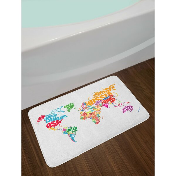 World Map with Names of the Countries Europe America Africa Asia Graphic Non-Slip Plush Bath Rug by East Urban Home