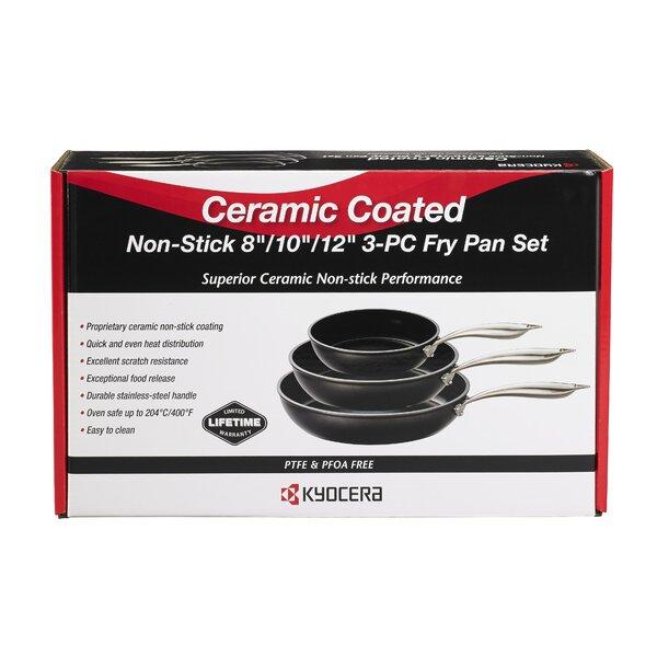 3 Piece Non-Stick Frying pan/Skillet Set by Kyocera Advanced Ceramics