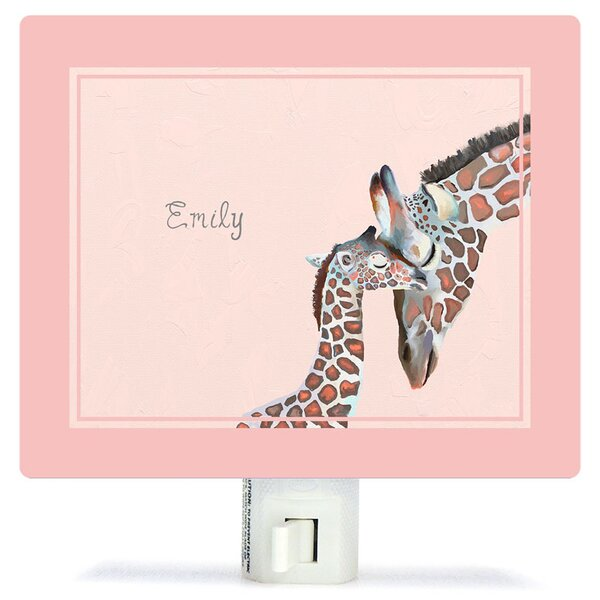 Personalized You And Me Giraffe Canvas Night Light by Oopsy Daisy