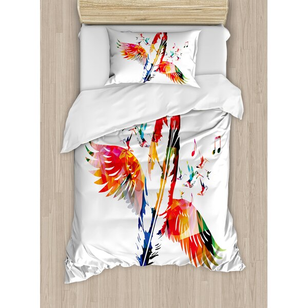 Feather House Imaginary Feather Fashioned of a Bird with Musical Harmony in Universe Theme Duvet Set by Ambesonne