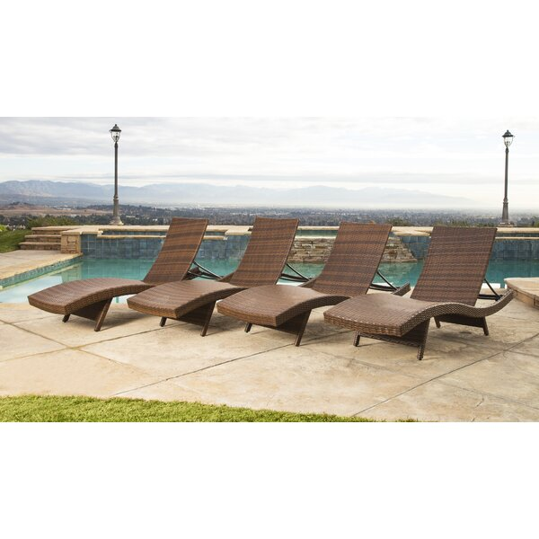 Luckey Outdoor Wicker Reclining Chaise Lounge (Set of 4) by Orren Ellis
