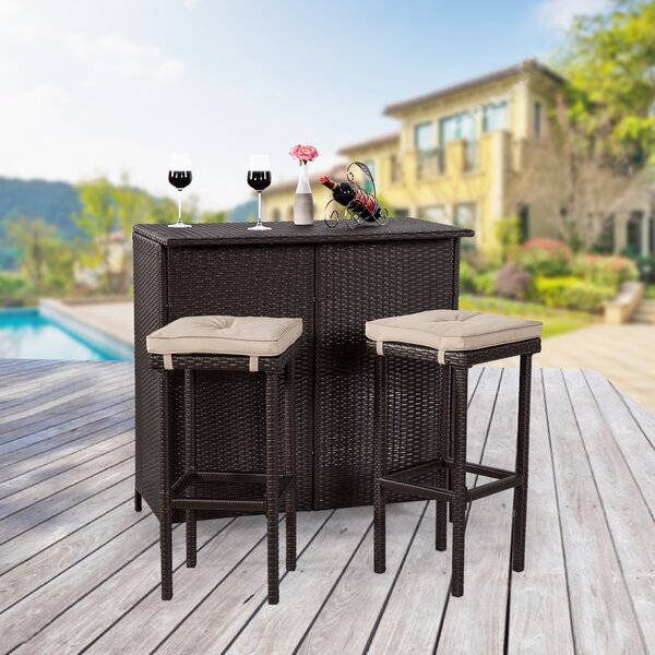 Audrey Rattan 3 Piece Bar Set by Ebern Designs