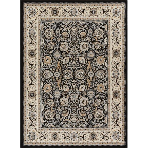 Persa Tabriz Oriental Persian Black/Beige Area Rug by Well Woven