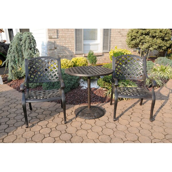 Puga 3 Piece Bistro Set with Sunbrella Cushions by Canora Grey