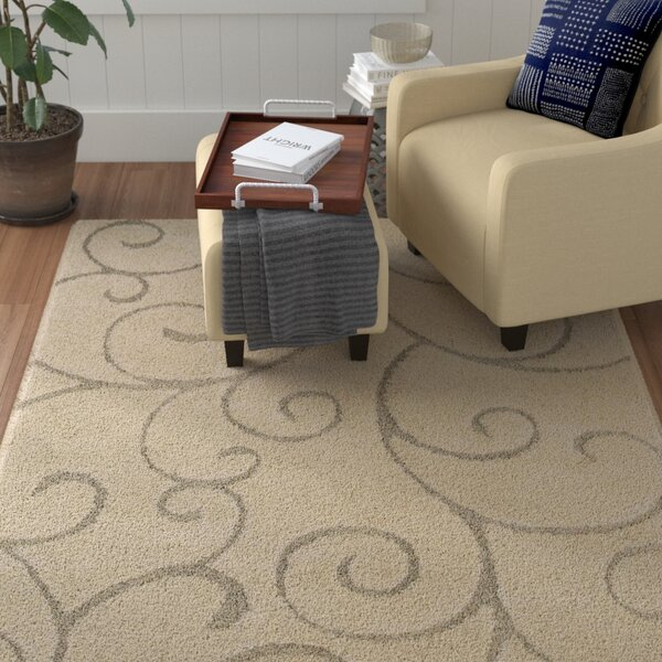 Arwen Scrolling Vine Cream/Beige Indoor Area Rug by Red Barrel Studio