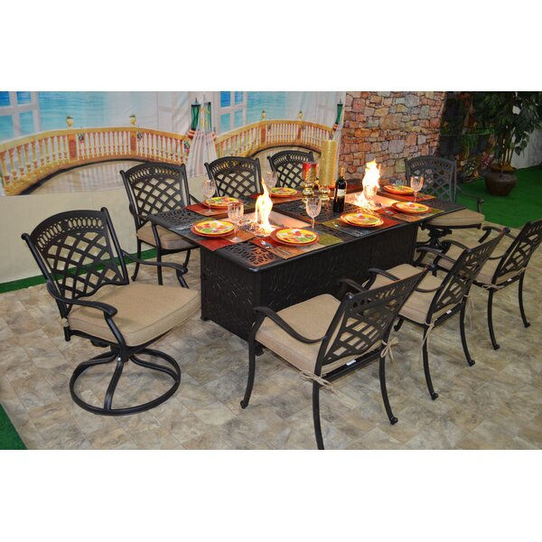 Jackston 9 Piece Sunbrella Dining Set with Cushions by Darby Home Co