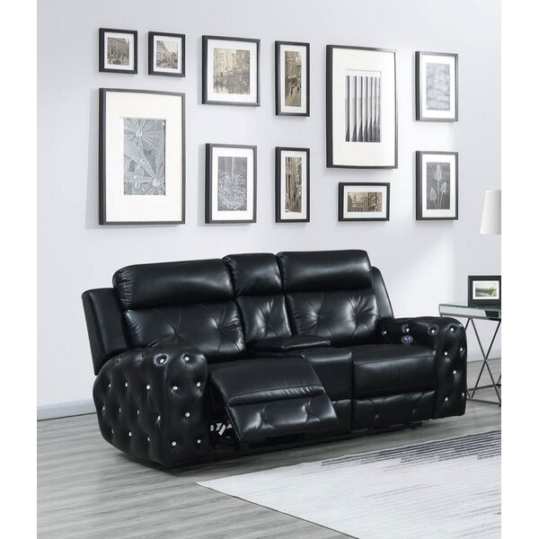 Lefebvre Jewel Embellished Power Console Reclining Loveseat by Mercer41