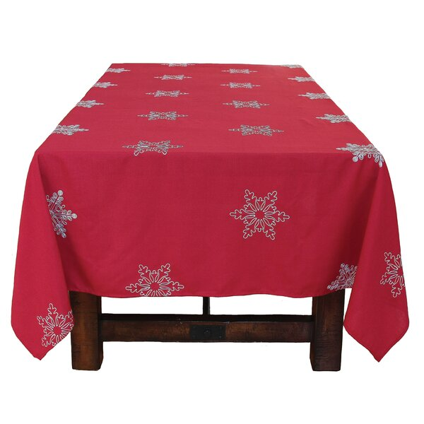 Snowy Noel Embroidered Snowflake Christmas Tablecloth by The Holiday Aisle