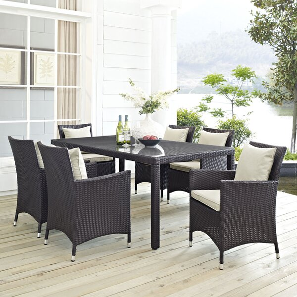 Ryele 7 Piece Outdoor Patio Dining Set with Cushions by Latitude Run