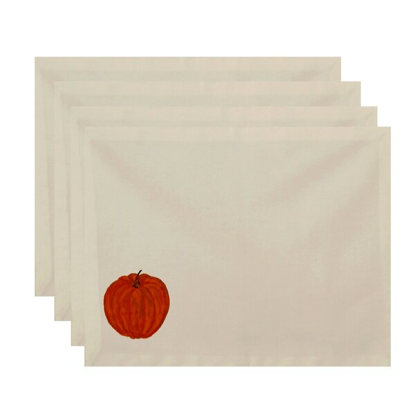 Pickrell Pumpkin Holiday Print Rectangular Placemat (Set of 4) by August Grove
