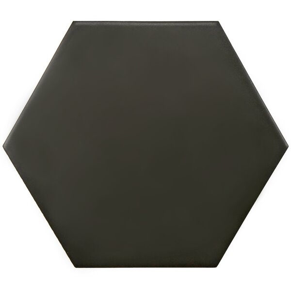 Hexitile 7 x 8 Porcelain Field Tile in Black by El