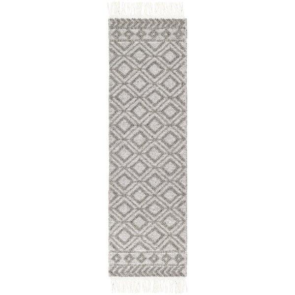 Carletta Geometric Handmade Flatweave Wool Black/White Area Rug