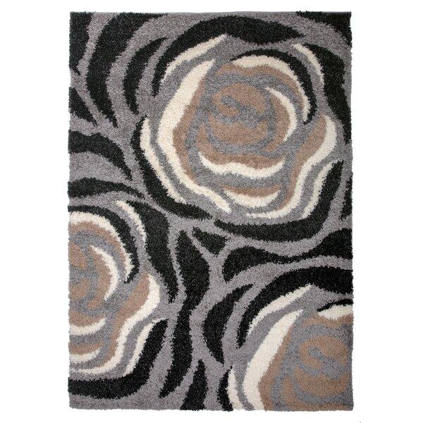 Samantha Cozy Shag Floral Beige Area Rug by Ebern Designs