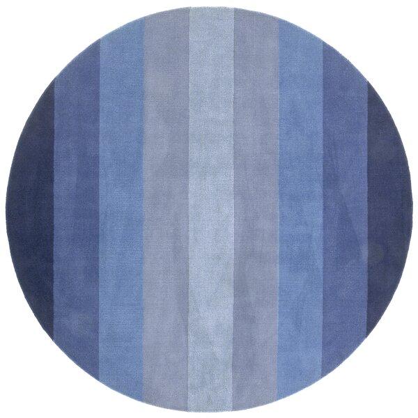 Degarmo Tufted Cotton Blue Stripes Area Rug by Mercury Row