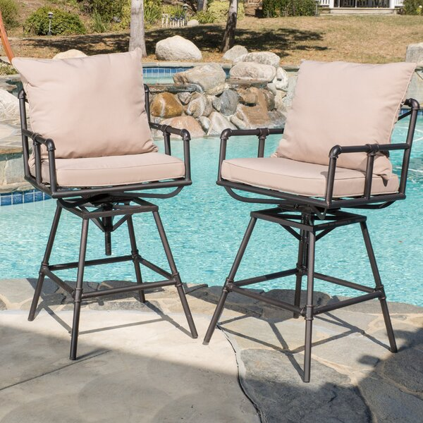 Sittig 26-inch Patio Bar Stool With Cushions (Set Of 2) By Latitude Run