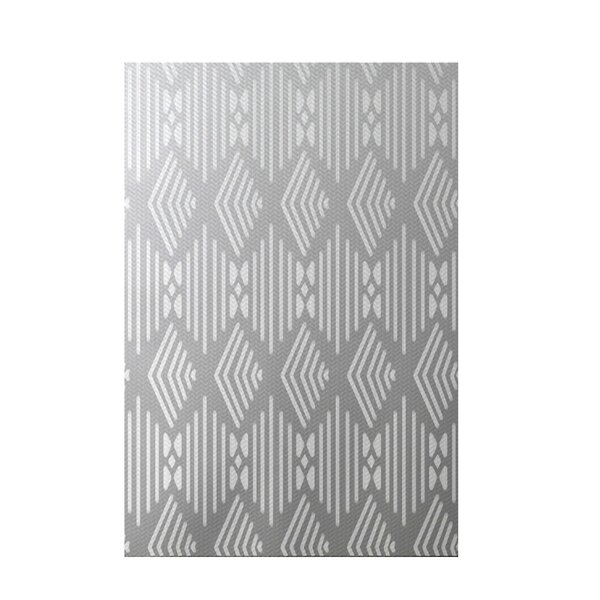Fishbones Geometric Print Rain Cloud Indoor/Outdoor Area Rug by e by design