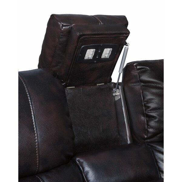 Kranzo Wooden Motion Leather Loveseat by Red Barrel Studio