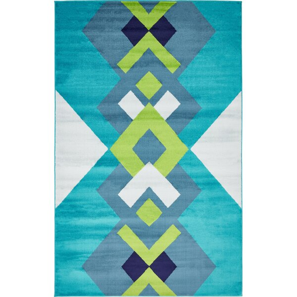 Sidney Turquoise Area Rug by Wrought Studio