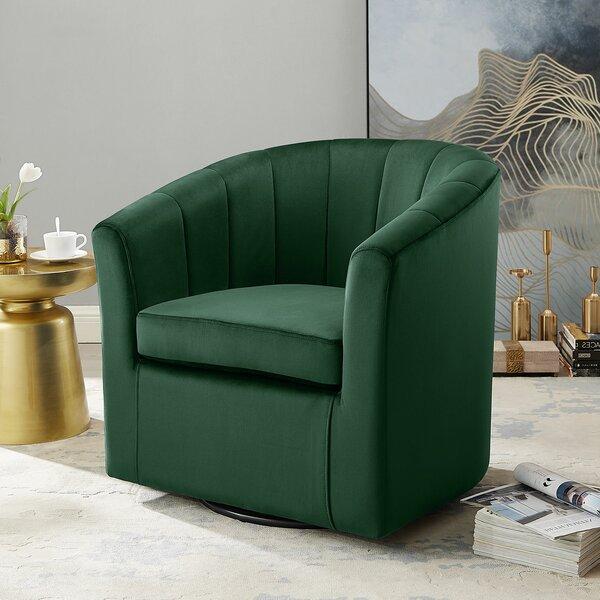 Ailsa Swivel Barrel Chair by Everly Quinn Everly Quinn