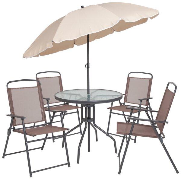 Tollette 5 Piece Sunbrella Dining Set with Umbrella