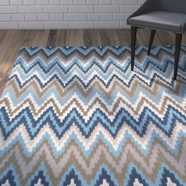 Sonny Hand-Woven Cotton Brwon/Blue Area Rug by Wrought Studio