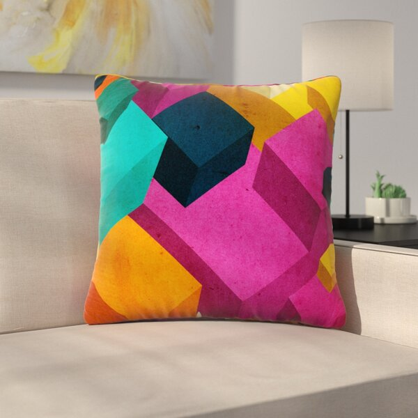 Happy Cubes by Danny Ivan Outdoor Throw Pillow by East Urban Home