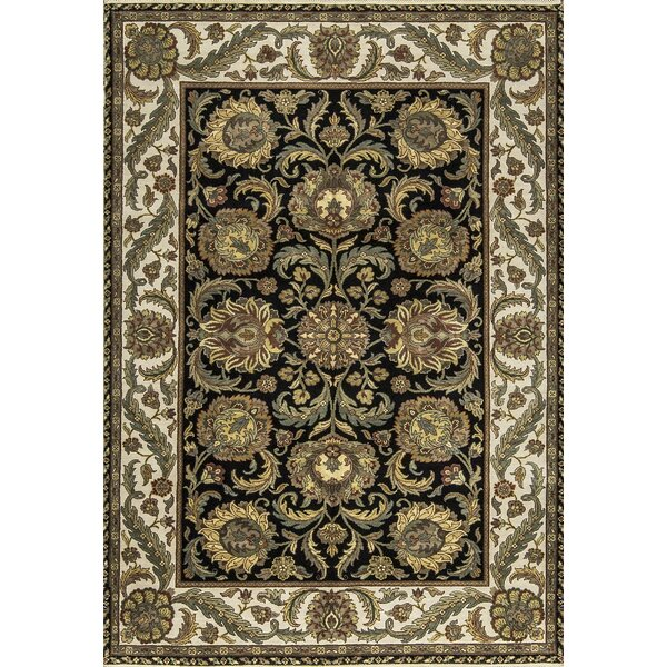 One-of-a-Kind Handwoven Wool Black/Beige/Green Indoor Area Rug by Bokara Rug Co., Inc.