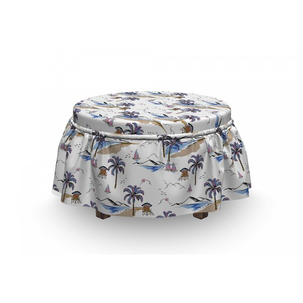 Review Exotic Island Summer Ottoman Slipcover (Set Of 2)