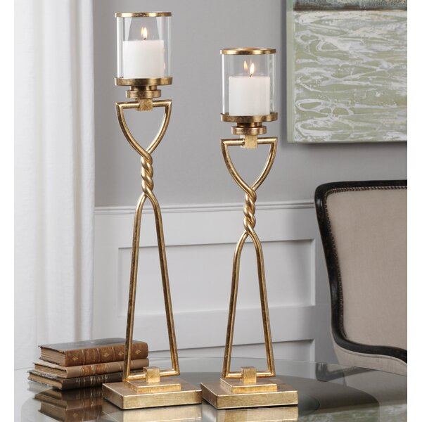 2 Piece Iron Candlestick Set By Canora Grey.