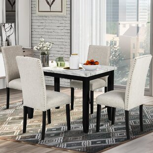 Hooseng 3 Piece Kitchen Dining Room Table Set Wood Dining Table and 2 Benches Set Beige