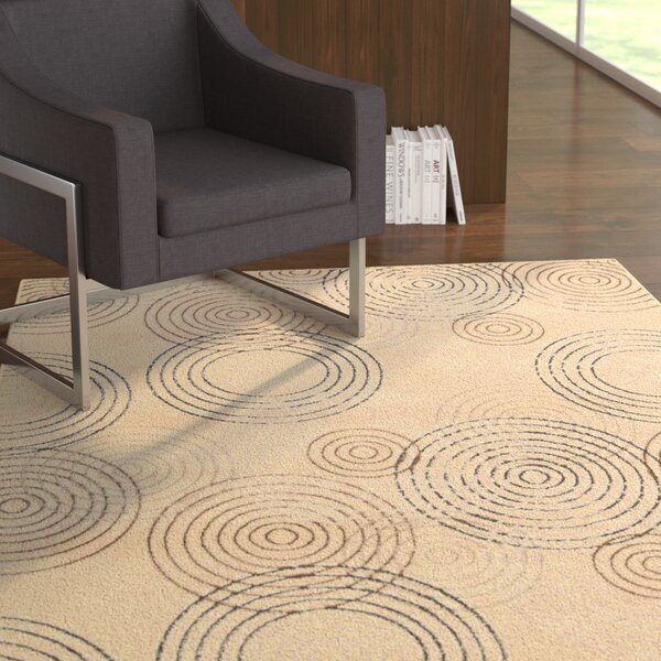 Densmore Geometric Ivory Area Rug by Ebern Designs