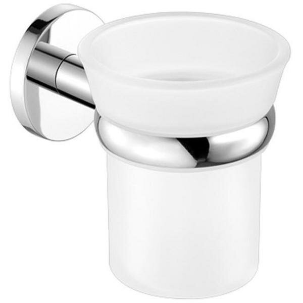 Cozine Wall Mount Frosted Glass Toothbrush & Tumbler Holder by Ebern Designs