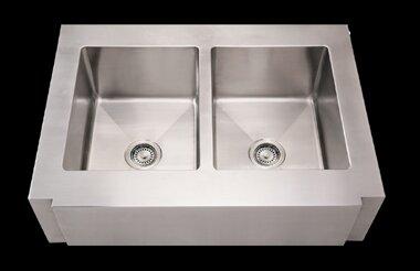 Noah's 36 L x 26.25 W Commercial Double Bowl Undermount Kitchen Sink