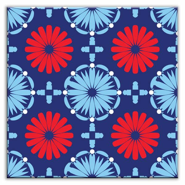 Folksy Love 4-1/4 x 4-1/4 Satin Decorative Tile in Kaleidoscope Blue-Red by Oscar & Izzy
