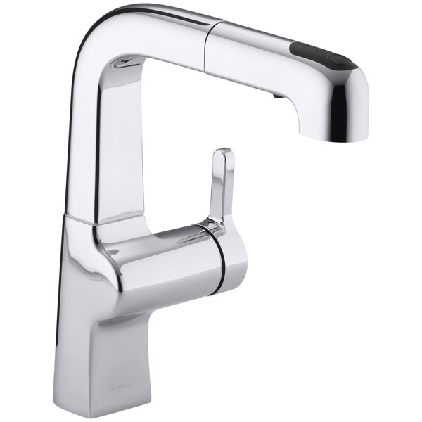 Evoke Single-Hole Kitchen Sink Faucet with 8 Pullout Spout with ProMotion™ and MasterClean™ by Kohler