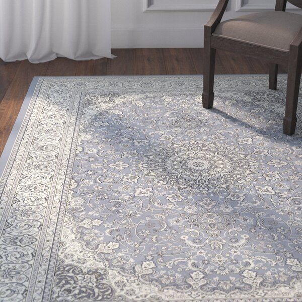 Attell Steel Blue/Cream Area Rug by Astoria Grand