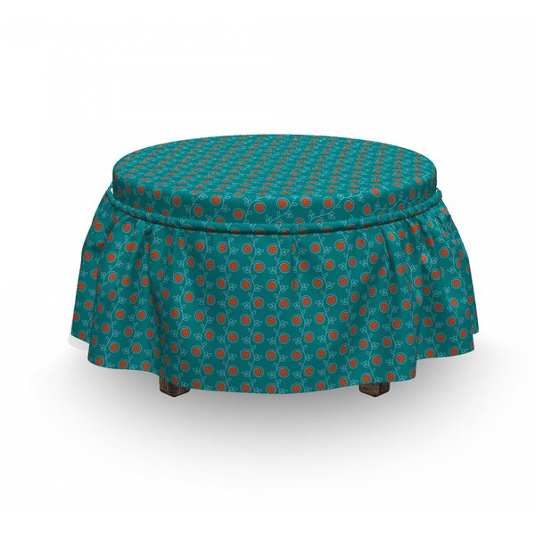 Swirls And Flowers Ottoman Slipcover (Set Of 2) By East Urban Home