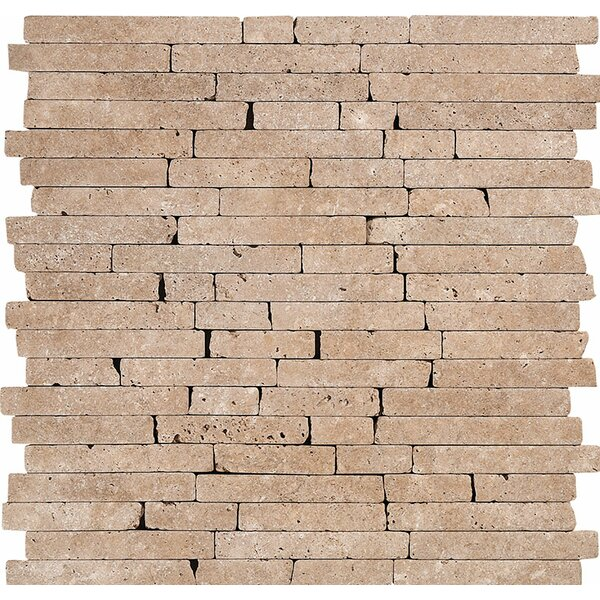Random Strips Tumbled Random Sized Stone Mosaic Tile in Noce by Parvatile