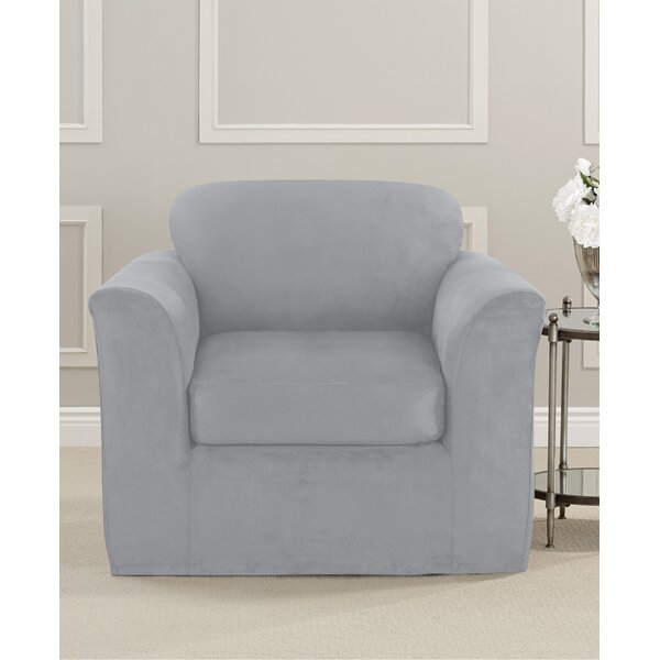 Ultimate Stretch Suede Box Cushion Armchair Slipcover By Sure Fit