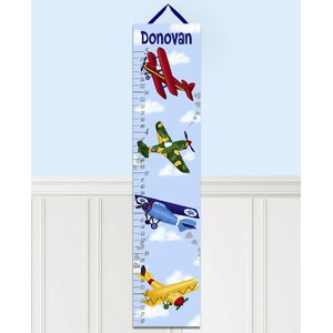 Airplanes Personalized Canvas Growth Chart by Toad and Lily
