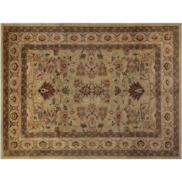 Xenos Hand-Knotted Wool Light Green/Tan Area Rug by Astoria Grand