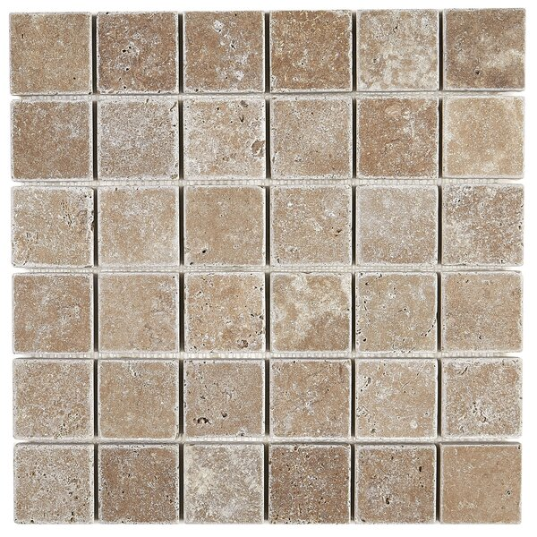 Hopkins 2 x 2 Travertine Mosaic Tile in Light Noce by Itona Tile