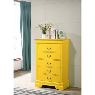 Louis Phillipe 5 Drawer Chest Bolt Furniture Color: Yellow