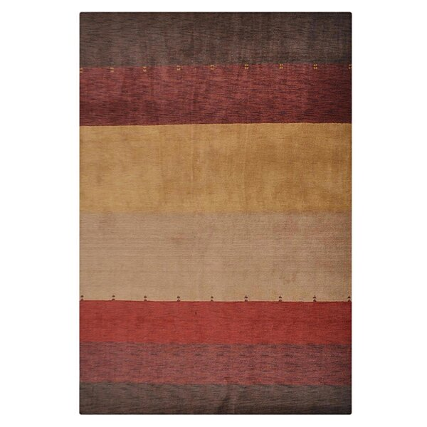 St Catherine Hand-Knotted Wool Brown/Red Area Rug by Millwood Pines