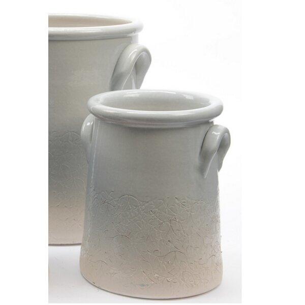 Seaside Treasures Eggshell 2-Piece Ceramic Pot Planter Set by Northlight Seasonal