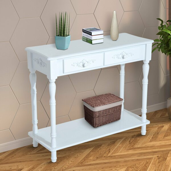 Jermaine Two Drawer Wooden Entryway Console Table by Charlton Home
