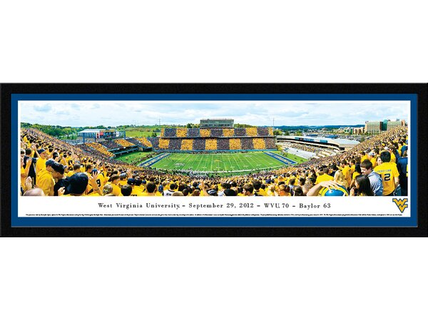 NCAA West Virginia University - Stripe 50 Yard Line by Christopher Gjevre Framed Photographic Print by Blakeway Worldwide Panoramas, Inc